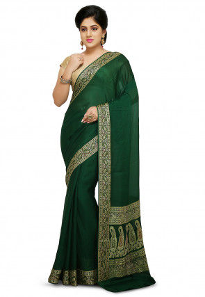 Pure Georgette Saree in Dark Green