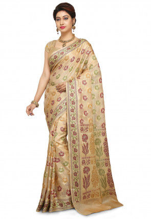 Pure Tussar Silk Saree in Beige