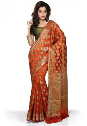 Woven Pure Tussar Silk Saree in Rust
