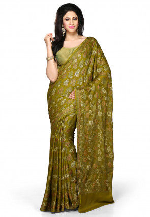 Woven Pure Georgette Silk Saree in Olive Green