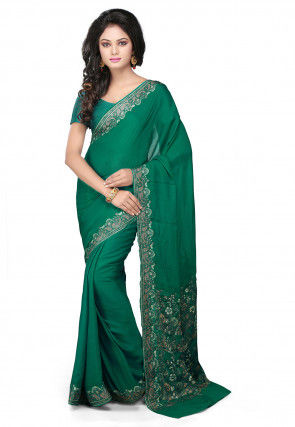 Embroidered Pure Georgette Saree in Teal Green