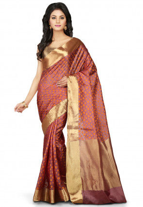 Woven Pure Tussar Silk Saree in Old Rose