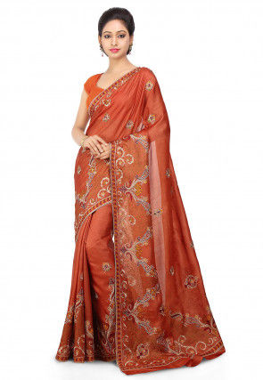 Embroidered Pure Tussar Silk Saree in Rust