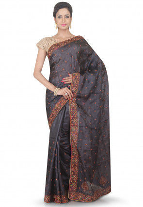 Embroidered Pure Silk Saree in Charcoal Black