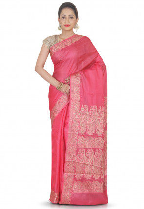 Woven Pure Silk Saree in Pink
