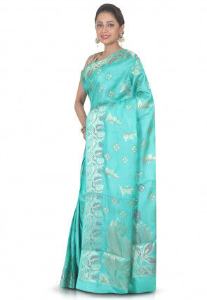 Woven Pure Silk Saree in Turquoise