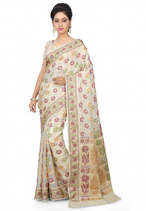 Pure Tussar Silk Saree in Off White