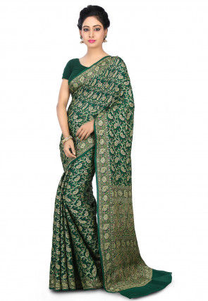 Pure Chiffon Saree in Dark Green