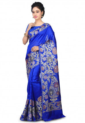 Pure Chiffon Saree in Royal Blue