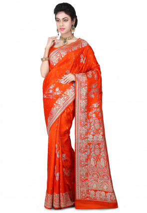 Pure Satin Silk Banarasi Saree in Orange