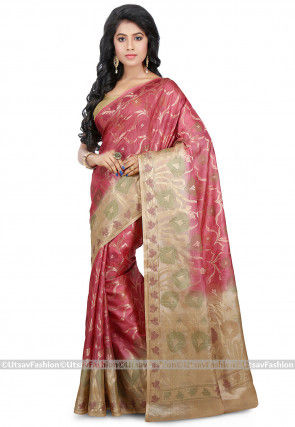 Pure Tussar Silk Saree in Dark Pink