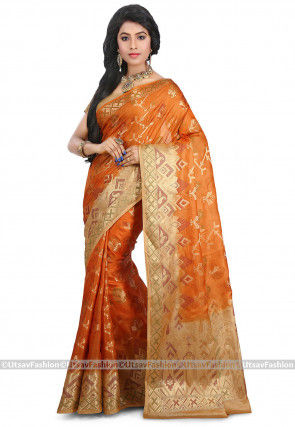 Pure Tussar Silk Saree in Orange