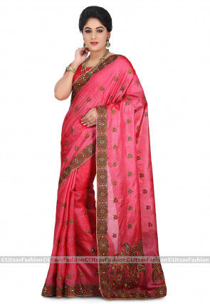 Embroidered Pure Tussar Silk Saree in Pink