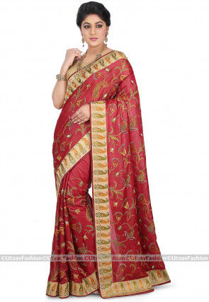 Embroidered Pure Tussar Silk Saree in Maroon
