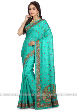 Embroidered Pure Tussar Silk Saree in Teal Green