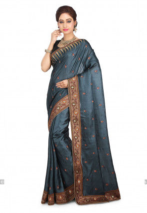 Embroidered Pure Tussar Silk Saree in Dark Grey