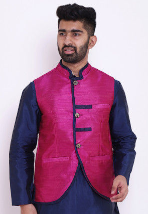 Solid Color Art Dupion Silk Nehru Jacket in Fuchsia