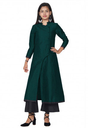 Solid Color Art Silk A Line Kurta in Teal Green