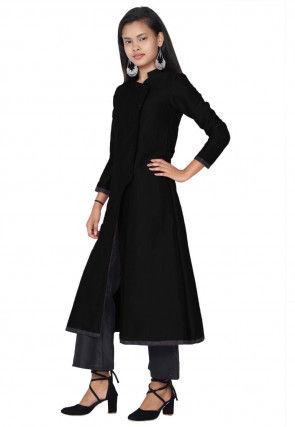 Solid Color Art Silk A Line Kurta Set in Black