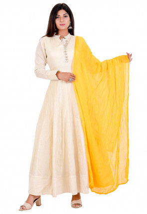 Solid Color Art Silk Abaya Style Suit in Light Beige