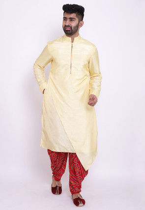 Solid Color Art Silk Asymmetric Dhoti Kurta in Light Yellow
