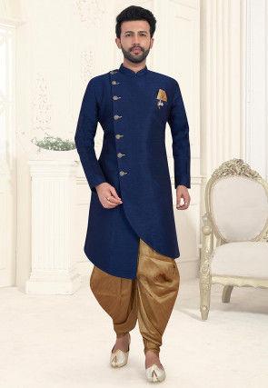 Solid Color Art Silk Asymmetric Dhoti Sherwani in Dark Blue
