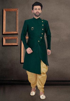Solid Color Art Silk Asymmetric Dhoti Sherwani in Dark Green