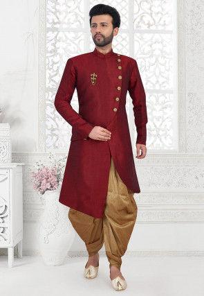 Solid Color Art Silk Asymmetric Dhoti Sherwani in Maroon