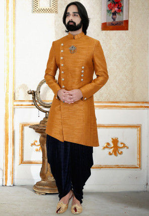 Solid Color Art Silk Asymmetric Dhoti Sherwani in Mustard
