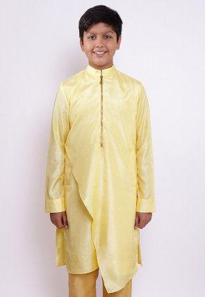 Solid Color Art Silk Asymmetric Kurta in Light Yellow