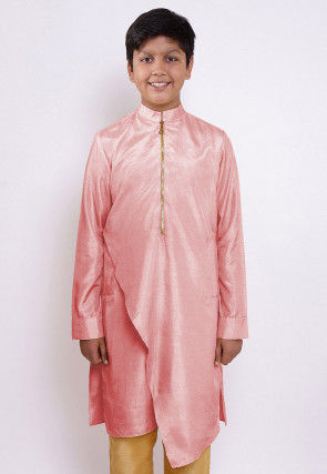 Solid Color Art Silk Asymmetric Kurta in Pink