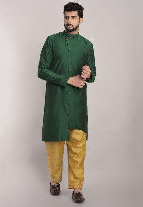 Solid Color Art Silk Asymmetric Kurta Set in Dark Green