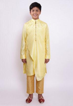 Solid Color Art Silk Asymmetric Kurta Set in Light Yellow