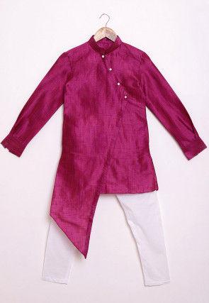 Solid Color Art Silk Asymmetric Kurta Set in Magenta