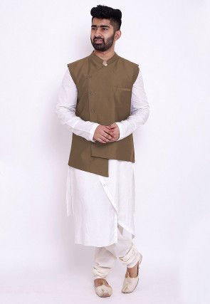 Solid Color Art Silk Asymmetric Kurta Set in White and Beige