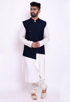 Solid Color Art Silk Asymmetric Kurta Set in White and Blue