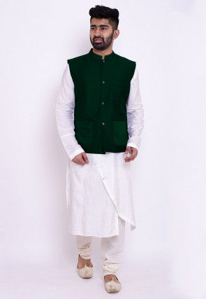 Solid Color Art Silk Asymmetric Kurta Set in White and Green