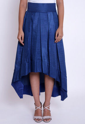 Solid Color Art Silk Asymmetric Pleated Skirt in Dark Blue