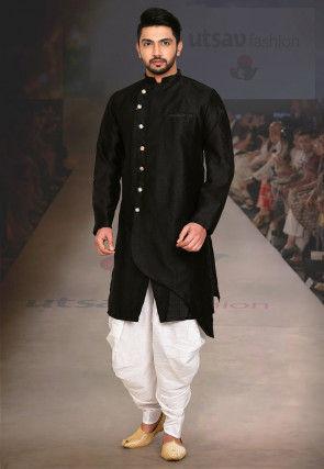 Solid Color Art Silk Asymmetric Sherwani in Black