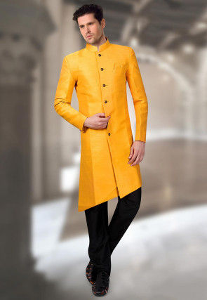 Solid Color Art Silk Asymmetric Sherwani in Yellow