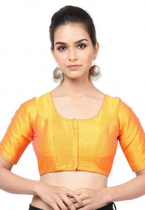 Solid Color Art Silk Blouse in Mustard