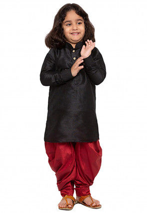 Solid Color Art Silk Dhoti Kurta in Black