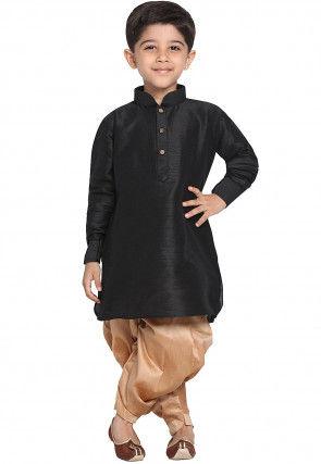 Solid Color Art Silk Dhoti Kurta in Black