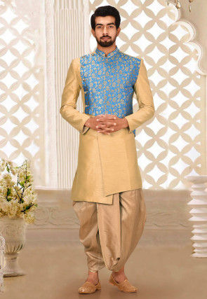 Solid Color Art Silk Dhoti Kurta in Blue and Beige
