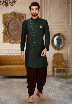 Solid Color Art Silk Dhoti Kurta in Dark Green