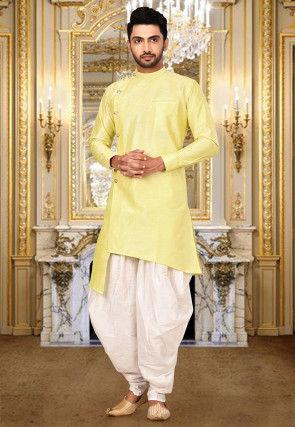 Solid Color Art Silk Dhoti Kurta in Yellow