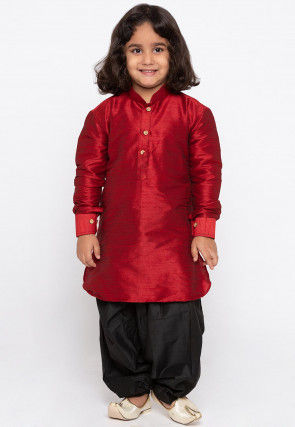Solid Color Art Silk Dhoti Kurta in Maroon