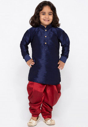 Solid Color Art Silk Dhoti Kurta in Navy Blue