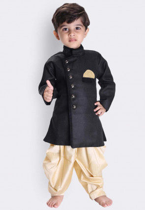 Solid Color Art Silk Dhoti Sherwani in Black