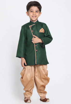 Solid Color Art Silk Dhoti Sherwani in Dark Green